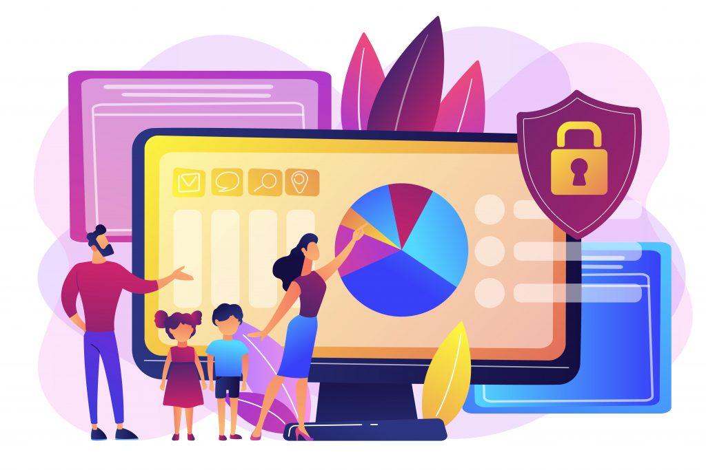 Parental control software concept vector illustration.